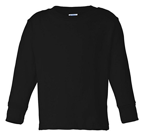 Rabbit Skins Toddler's 5.5 oz. Jersey Long-Sleeve T-Shirt, 4T, Black - Wholesale Picture Tees