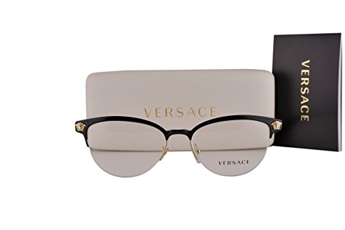 Versace VE1235 Eyeglasses 53-17-140 Black Pale Gold 1371 VE - Www Tiffanyco