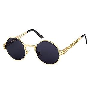 HANYI-Round Retro Polaroid Sunglasses Driving Polarized Glasses Men Steampunk (C)