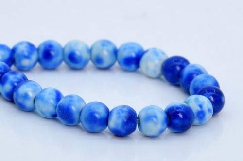 4mm Blue Rain Flower Jade Beads Grade Round Gemstone Loose Beads 7.5'' Crafting Key Chain Bracelet Necklace Jewelry Accessories Pendants