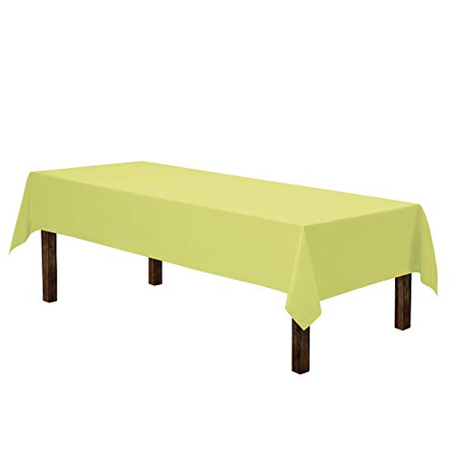 Gee Di Moda Rectangle Tablecloth - 60 x 126 Inch - Yellow Rectangular Table Cloth for 8 Foot Table in Washable Polyester - Great for Buffet Table, Parties, Holiday Dinner, Wedding & More ()