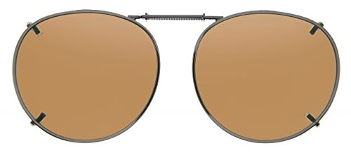 Cocoons Round 2 Clip-On Sunglasses, Size 50 Gunmetal Frame, Amber Lenses L508A