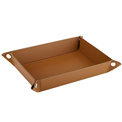 (Luxspire Valet Tray, PU Leather Tray, Catchall Tray, Men Women Jewelry Key Tray, Desk Storage Plate for Key Coin Phone Jewelry Wallet, Medium Size - Brown)
