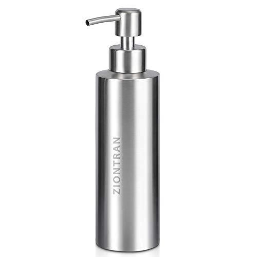 ZionTran 350mL Premium Stainless Steel Soap Dispenser with Pump - Large for Kitchen or Bathroom Sink Countertop - Use with Hand Soap, Dish Soap, Lotion