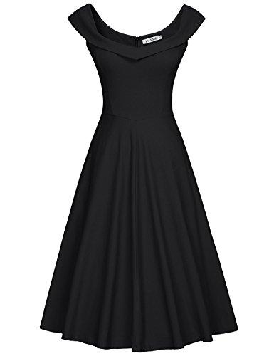 MUXXN Womens 1950s Scoop Neck Off Shoulder Cocktail Dress(M,Pure Black)