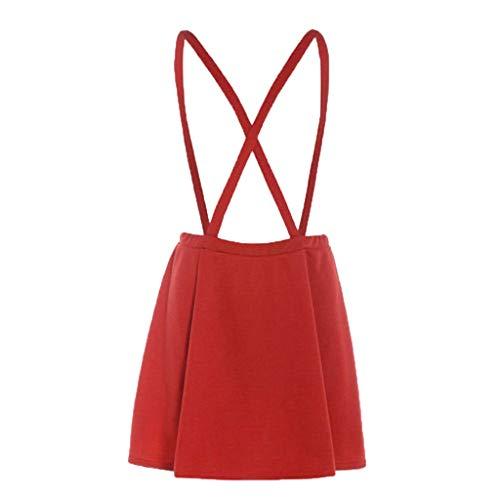 2019 Womens Tartan Dress Check Pinafore Dungarees Dress Short Mini Skater Women