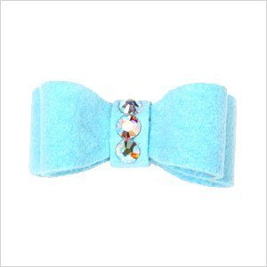 Ultrasuede Clip Style Bow w/ Crystals for Dogs – Tiffy (bright) Blue, My Pet Supplies