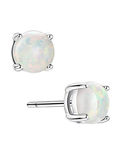 Opal Stud Earrings Sterling