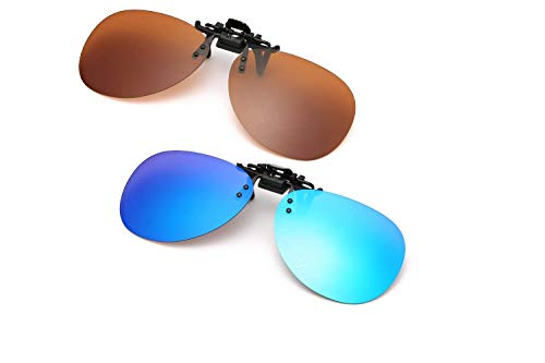 Polarized Clip on Flip up Sunglasses,over Prescription Glasses,2 Pairs ()