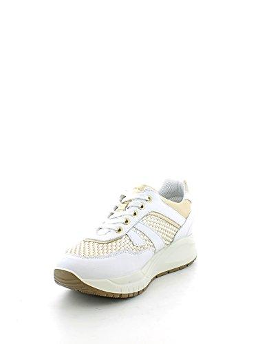 Sneaker in nappa bianca con intreccio oro N. 35
