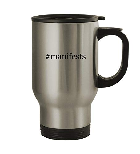 #manifests - 14oz Sturdy Hashtag Stainless Steel Travel Mug, Silver