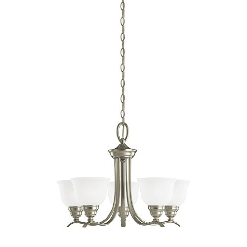 Sea Gull Lighting 31626-962 Wheaton Five-Light Chandelier with Satin Etched Glass Shades, Brushed Nickel Finish