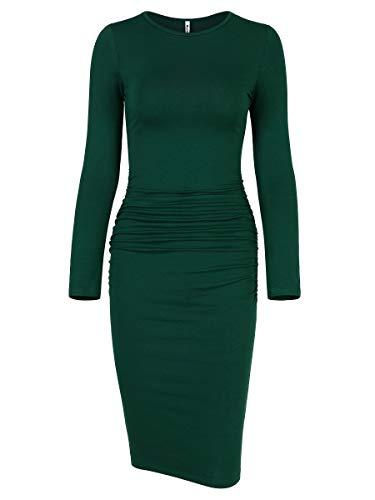 - Missufe Women's Ruched Casual Sundress Midi Bodycon Sheath Dress (Long Sleeve Dark Green, X-Large)