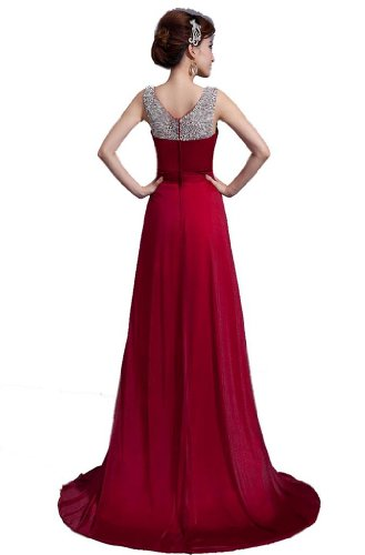 DLFASHION Scoop Neck Sweep Train Beaded Chiffon Prom Dress S-6 Burgundy