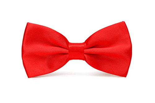 Tie Patterned Red (Mens Pre-Tied Satin Bowtie Adjustable Length Solid Color Fashion Patterned bow tie(Red))