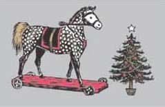 Roger la Borde Victorian Rocking Horse and Christmas Tree Christmas Cards (Horse Victorian Rocking)