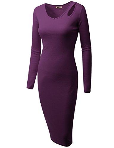 Doublju Womens Short Sleeve Back Front Henley PURPLE Dress,2XL