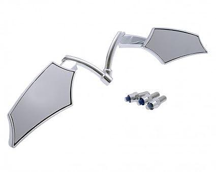 extra Adapter M10x1.25 Links Chrom ABS Spiegel Motorrad Custom SHIELD Paar