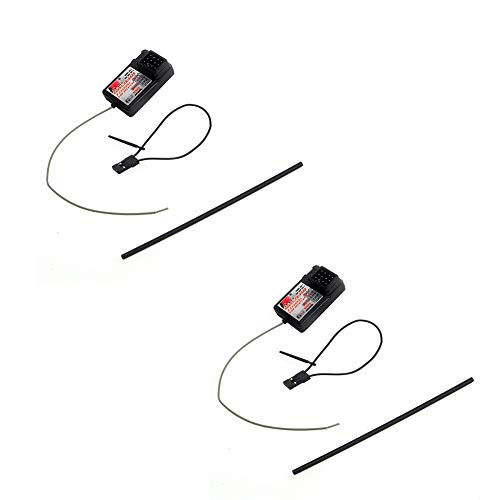 Micro Channel Receiver 3 - 2Pcs Flysky FS-GR3E Receiver, Long Range 2.4G 3CH Receiver for FS-GT2 FS-GT2B FS-GT3B FS-GT3C FZ-IT4S RC Car Boat Transmitter