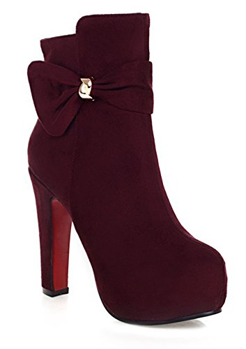 Botines Con Puntera Redonda Bowknot Para Mujer Ashish Wine Red