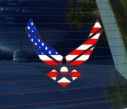 Air Force Flag Stickers (Air Force Wings USA Flag - Car, Truck, Notebook, Bumper, Window Vinyl Sticker)