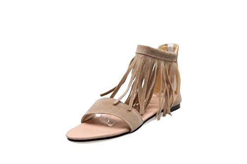 Sandalias Mujer/Sandalia con Pulsera para Mujer/El Flujo del Verano Mujer Sandalias de Fondo Plano a un Gran Número de Estudiantes Zapatos Beige