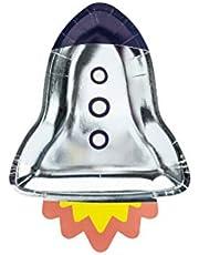 PartyDeco Conf. 6 papperstallrikar i form av ett lustigt nöje för Space Party, 21,5 x 29,5 cm