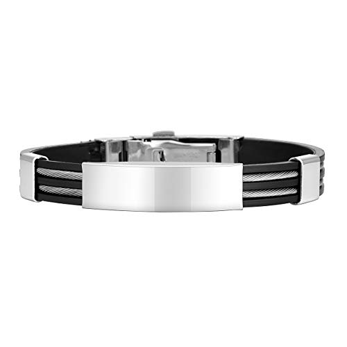 Jovivi Silicone Medical Alert ID Bracelets Stainless Steel Silver Black Cable Inlay Link Bracelet for Men Women Couples Gifts