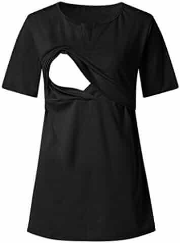 25056089ad7c3 Luonita Womens Maternity Breastfeeding T-Shirts V Neck Blouses Short Sleeve  Tops
