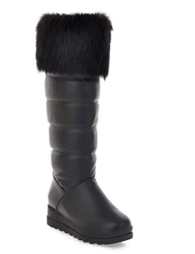 Women's Thickened Wedge Snow Boots Casual Boots(Black-42/10 B(M) US Women)