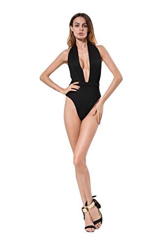 Solatin Women Sexy Deep V-Neck Backless High Waist One-Piece Bikini Swimsuit Monokini Black M