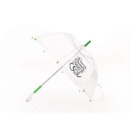 Paraguas Transparente Con Frase Después De La Tormenta Siempre Sale El Sol Mango Verde