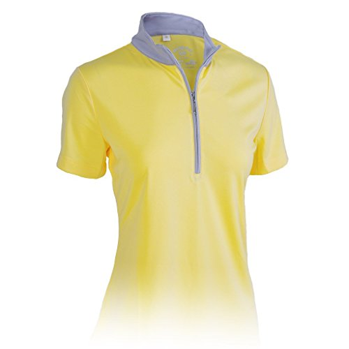 Monterey Club Ladies' Dry Swing Hi-Low Contrast Zipped up Collar #2325 (Butter/Gray, ()