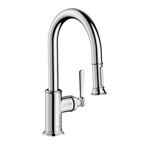 AXOR Montreux Luxury 1-Handle 13-inch Tall Kitchen Faucet with Pull Down Sprayer Magnetic Docking Spray Head in Chrome, 16584001
