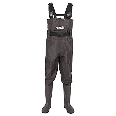 TideWe Bootfoot Chest Wader, 2-Ply Nylon/PVC Waterproof Fishing &Hunting Waders for Men and Women (Green and Brown)