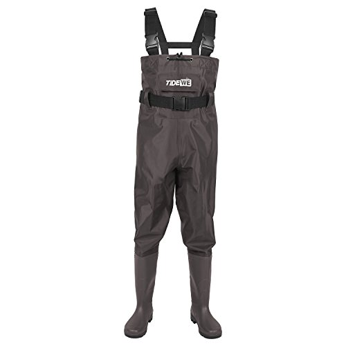 TideWe Bootfoot Chest Wader, 2-Ply Nylon/PVC Waterproof Fishing & Hunting Waders for Men and Women Brown Size 14
