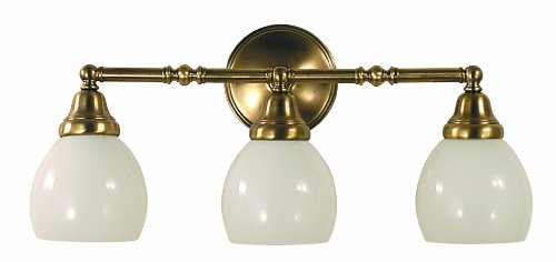 Framburg 2429 AB Sheraton 3-Light Vanity Fixture with White Opal Glass Shades, Antique Brass - Framburg Traditional Sconce
