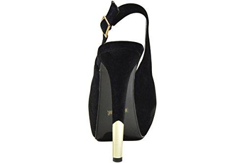 De Bloesem Collectie Dames Lester-1 Hakken Peep Toe Schoenen Zwart