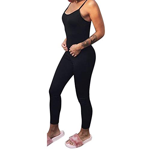 QBQCBB Solid Color Tight Yoga Pants Women Sleeveless Tight Fitting Backless Motion Yoga Jumpsuits {Black,S}