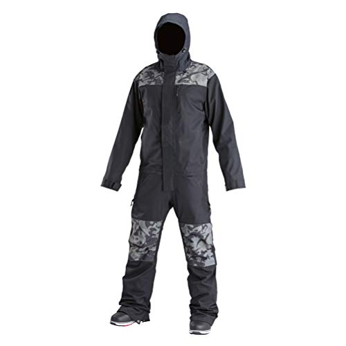 (AIRBLASTER Men's Shell Outerwear One Piece Freedom Suit, Black Stealth Dino,)