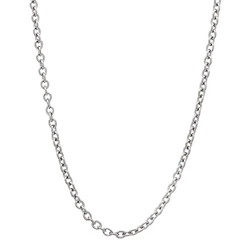 1mm Durable Solid Stainless Steel Smooth Cable Link Chain Necklace, 20 inches + Microfiber Jewelry Polishing Cloth