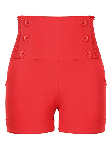 Chic High Waist Front Buttons Loose Relaxed Fit Pin Up Sailor Shorts for Women Red M -