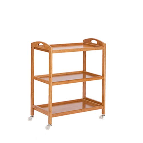 Three Beauty Hairdressing Three-Tier Mobile Cart, Retro Wood Multi-Function Trolley Home Mobile Shelf Utility Trolley,Three