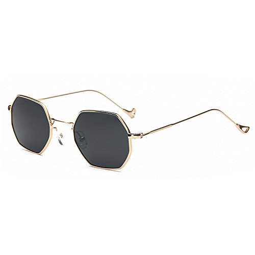 Small Square Polarized Sunglasses For Street Photography Octagon Sunglasses Gold Grey