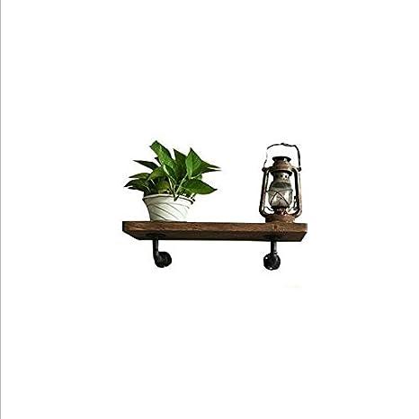 Lying Rejilla de pared de tubería de agua retro, barra de hierro de madera sólida marco de decoración de pantalla de rack de tablilla de estantería escritorio de almacenamiento de rack de pared colgante pared decorativa Creative