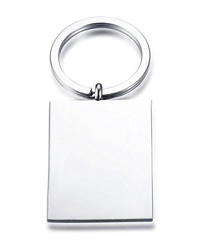 Vnox Personalized Custom Text Stainless Steel Rectangle Geometry Keychain for Men