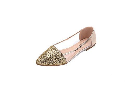 Mila Lady Mavis Fashion Sparkling Sparkly Glitter Slip On Pointed Toe Loafer Ballet Flat Shoes, GOLD6.5