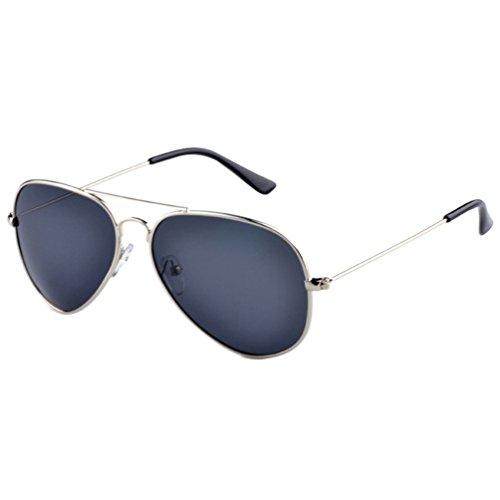 Aviateur Métal Protection Lunettes Cadre Sunglasses de Soleil Plage Voyage Cadre UV Polarisées Eyewear Hommes Lentille LINNUO Femmes Gris Argent 0HzwOd4x