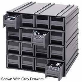 Quantum QIC-161RD Interlocking Gray Storage Cabinet with 16 Red Drawers, 11.38-Inch by 11-3/4-Inch by 11-Inch