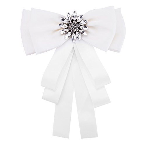(Sunvy Fashion Brooches Pin Bow Tie Crystal Dangle Formal Wedding Party EH7921)